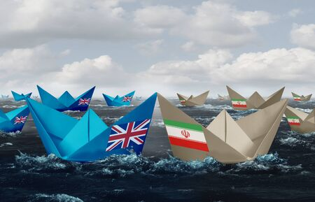 United Kingdom and Iran confrontation in the Persian gulf as a crisis in the middle east as Great Britain versus the Iranian government as paper boats representing shipping lane risk in a 3D illustrat