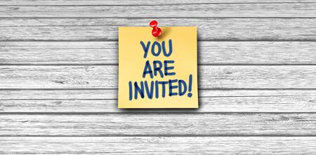 Invitation greeting as a yellow business note paper with thumb tack on white wood background with 3D illustration elements. Stock Photo