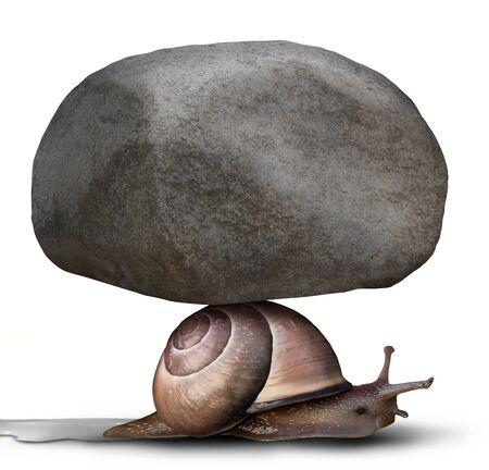 Konzept des Kampfes und der starken Willenskraft als Geschäftsmetapher für Hingabe und Entschlossenheit, auch wenn sie als zusammengesetztes Bild einer schweren Last oder Last gegenüberstehen Standard-Bild