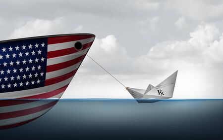 Health care crisis concept and prescriptions and drug coverage policy struggle or medicare and medical insurance symbol as a paper boat made from a doctor prescription note pulling a US ship with 3D illustration elements. Imagens