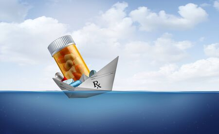 Prescriptions and drug coverage policy or medicare and medical insurance symbol as a paper boat made from a doctor prescription note loaded with medicine as a health insurance concept with 3D illustration elements.