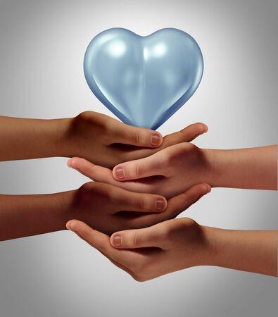 Concept de bénévolat et de bénévolat de sensibilisation communautaire et de plaidoyer de groupe en tant que diverses personnes multiculturelles se donnant la main pour une cause sociale avec des éléments d'illustration 3D.
