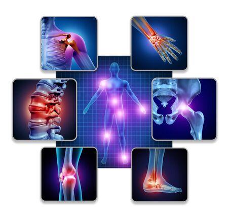 Concetto di dolore articolare del corpo umano come scheletro e anatomia muscolare del corpo con un gruppo di articolazioni doloranti come simbolo di malattia dolorosa o artrite per l'assistenza sanitaria e sintomi medici con elementi illustrativi 3D.