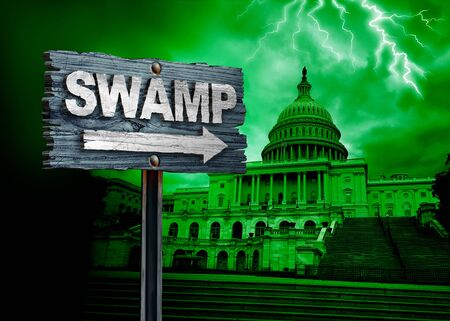 Drain the swamp politics and United States deep state government corruption as a US political concept in a 3D illustration style.