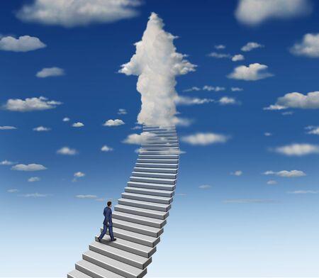 Ehrgeizkonzept mit Geschäftsmann, der Treppen zu einer Erfolgswolke steigt, die als Pfeil mit 3D-Illustrationselementen geformt ist.