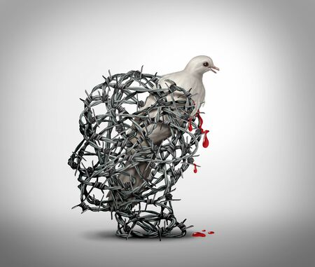 Hate crimes and the mind of a terrorist concept as a human head made of barbed wire with a bleeding wounded white dove victim of violence as a concept of criminal hatred in a 3D illustration style.