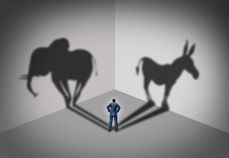 Republican and democrat voter concept as a symbol of an American election political identity campaign choice as two United States political parties shaped as an elephant and donkey in a 3D illustration style. Stock fotó