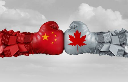 China Canada or Canadian trade and Chinese tariffs conflict with two opposing trading partners as an economic import and exports dispute concept with 3D illustration elements Фото со стока