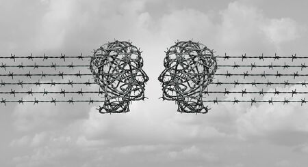 Hate speech communication concept,and online hate chat as two heads made of barbed wire communicating together in a 3D illustration style.