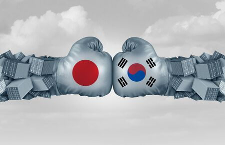 South Korea Japan trade conflict and global trade dispute as two opposing boxing gloves and freight containers in a Japanese and South Korean economic crisis as a 3D illustration.