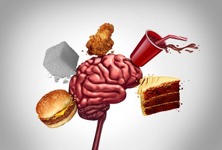 Junk food brain health and unhealthy nutrition choices for mental function as a human thinking organ being hit by a cheeseburger sugar soft dring fried chicken and cake with 3D illustration elements.