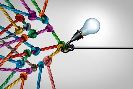 Social media abstract concept and networking solution support as a light bulb holding a group of connected ropes as a creative teamwork symbol with 3D illustration elements.