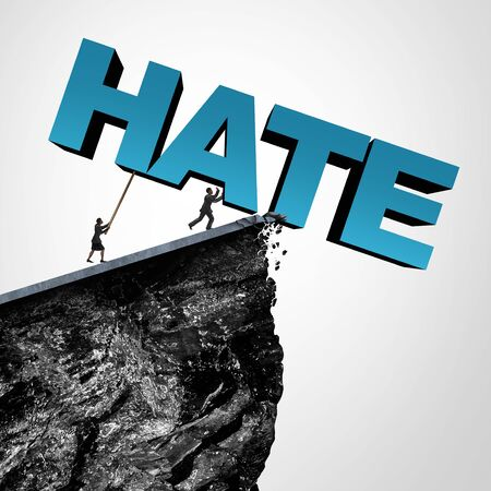 Overcome hate concept and destroy hatred and racial bias or bigotry in politics or society as people pushing text over a cliff as a metaphor for fearless fight on discrimination and racism with 3D illustration elements. Stock Photo