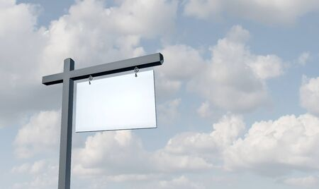 Blank White Real Estate Sign on a sky background with 3D illustration elements.