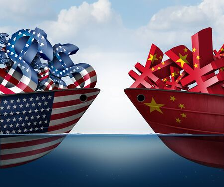 China US currency dispute and trade war as a Chinese yuan symbol in conflict with the American dollar icon as an economic fight concept as a 3D illustration. Фото со стока