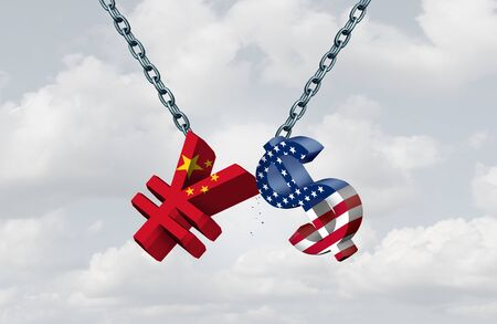 China USA currency war as a Chinese yuan symbol in conflict with the American dollar icon as a trade dispute concept as a 3D illustration. Stock fotó