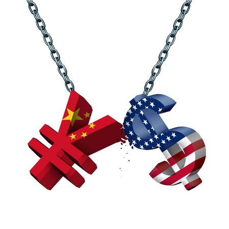 China United States currency war as a Chinese yuan symbol in conflict with the American dollar icon as a trade dispute concept as a 3D illustration. Фото со стока - 129250249