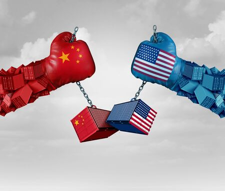 China US or United States trade and American USA tariffs on Chinese goods as a conflict with two opposing trading partners as an economic import and exports dispute concept with 3D illustration elements Stock Photo