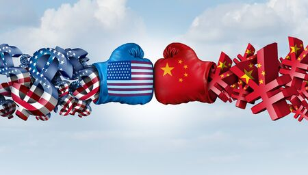 China Yuan And American Dollar fight as United states Chinese currency dispute and trade war as an economic fight concept as a 3D illustration.