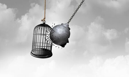 Free your mind as a metal bird cage being opened by a wrecking ball in the shape of a human head as a psychology and powerful thinking concept and creativity to think outside the box for new ideas as a 3D illustration.. Stock Photo