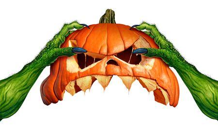 Monstruo calabaza de halloween manos de ogro verde sosteniendo una espeluznante cabeza de calabaza jack o lantern que es como un símbolo estacional de otoño para el horror y el ritual espeluznante sobre un fondo blanco en un estilo de ilustración 3D.