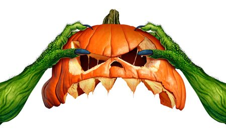 Monster halloween pumpkin green ogre hands holding a creepy pumpkin head jack o lantern that is as an autumn seasonal symbol for horror and spooky ritual on a white background in a 3D illustration style.. Stock Photo