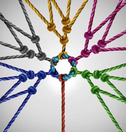 Connected to network groups as an individual connecting to diverse teams coming together to a central point as an abstract communication concept with linked ropes of different colors as a metaphor for social connection.