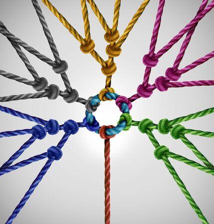 Verbunden mit Netzwerkgruppen als Individuum Verbindung zu diversen Teams, die als abstraktes Kommunikationskonzept mit verbundenen Seilen unterschiedlicher Farbe als Metapher für soziale Verbindung an einem zentralen Punkt zusammenkommen.