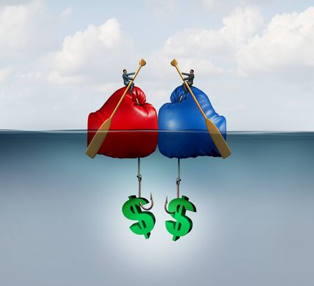 Fishing business concept as a corporate metaphor for financial competition or fish industry conflict with 3D illustration elements. Stock Photo