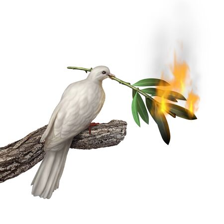 Peace concept with a dove carrying a burning olive tree branch as a crisis in faith or environmental problem idea with 3D illustration elements. Stockfoto