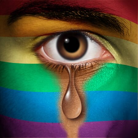 LGBT discrimination and same sex victim of a hate crime concept as a social issue symbol for civil rights protection from violence or bigotry as an eye with a pride flag crying in a 3D illustration style. Stok Fotoğraf - 129250330