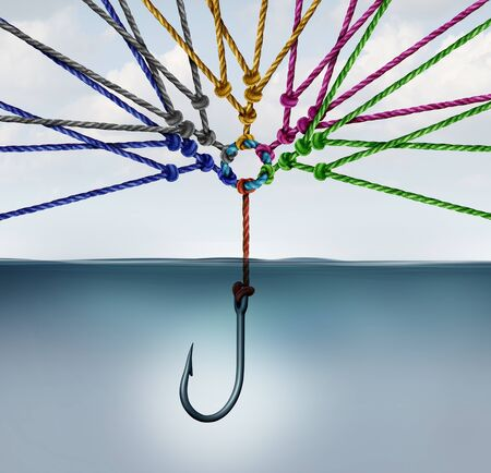 Group mission business team strategy as a diverse group of ropes attached to a hook as a united search network and teamwork concept for success with 3D illustration elements. Фото со стока