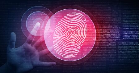 Biometric security concept and digital identity as a fingerprint scan cybernetic technology in a 3D illustration style.
