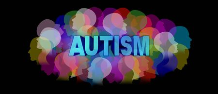 Autism diagnosis and autistic disorder concept or ASD concept as a group of human faces showing the color specrtrum as a mental health symbol for support and resources with 3D illustration elements.