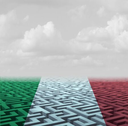 Italian government uncertainty and election confusion icon as a political crisis in Italy symbol with 3D illustration elements. Stok Fotoğraf