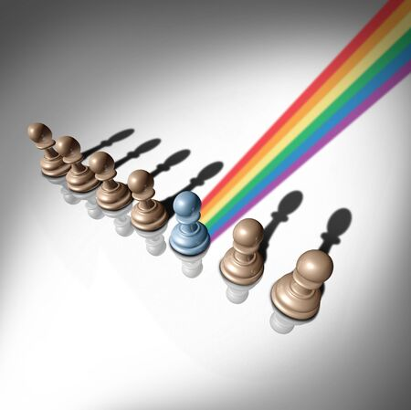 LGBT pride concept as a positive symbol for lesbian gay bisexual and transgender expressions icon as a social issue symbol for civil rights protection with a rainbow flag reflecting from a chess piece as a 3D illustration. Stock Photo