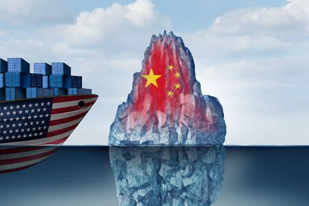 US China economic danger as a trade war with fear of a financial crash as a business concept as a 3D illustration. Фото со стока - 129250394