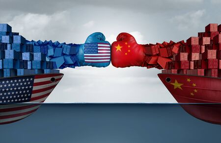 China United States trade war and American Chinese tariffs fight and economic dispute as two cargo container ships fighting over import and exports taxes as a 3D illustration.