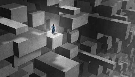 Businesswoman challenges concept and gender obstacles for being a female entrepreneur  in the business world as a woman with the burden of climbing a difficult maze with 3D illustration elements.