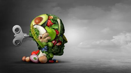 Vegan diet and mental function concept as a psychiatric or psychiatry symbol of the effects on the brain  and mood by eating natural food as fruit nuts vegetables and beans with 3D illustration elements.