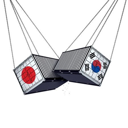 South Korea Japan trade conflict and global trade dispute as two opposing cargo freight containers in a Japanese and South Korean economic crisis isolated on a white background 3D illustration.