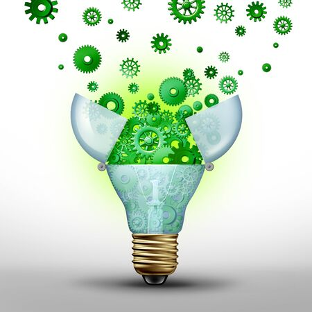 Energy efficiency concept and power savings idea as a green solution for alternative fuel as a 3D illustration. Imagens