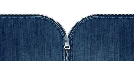 Zipper on jeans concept as an open interlocking metal fastener on blue denim clothing or garment textile as a symbol for revealing a message or discovery isolated on a white blank background with 3D elements.