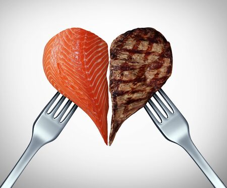 Surf and turf concept as meat And seafood or steak and salmon symbol as a gourmet meal at a restaurant serving fish cuts of beef with 3D illustration elements. Stock Photo