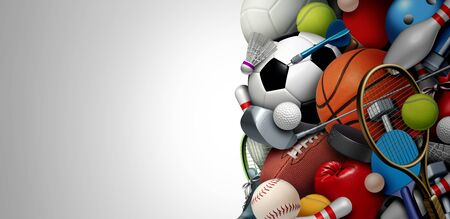 Sports equipment background with a football basketball baseball soccer tennis and golf ball including  tennis hockey puck as healthy recreation including copy space with 3D illustration elements. 写真素材 - 130136171