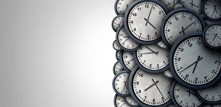 Time background abstract concept as a group of clock objects representing day and night planning or business working hours with copy space as a 3D illustration.