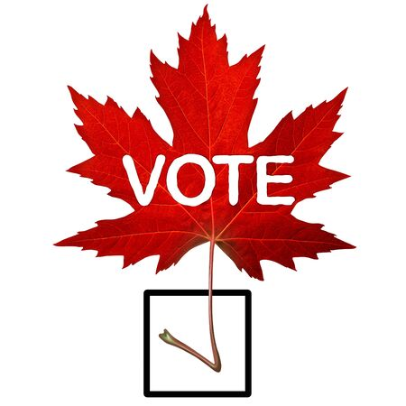 Canada vote symbol and canadian election concept with a red maple leaf shaped as a check mark in a 3D illustration style.