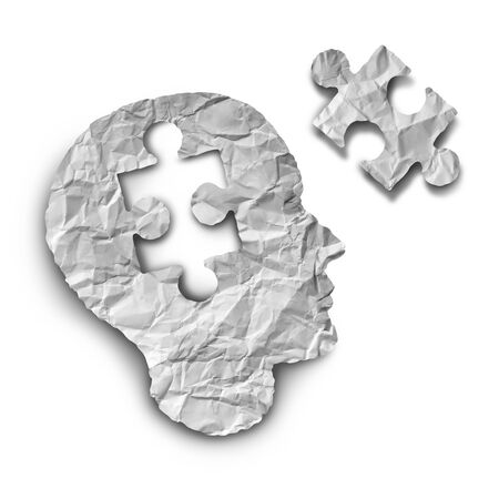 Puzzle mind and idea concept as a paper person with a jigsaw piece missing in a 3D illustration style. Stockfoto