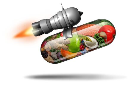 Power natural vitamin supplement and healthy nutrition pill as a natural powerful fitness nutrient capsule with a rocket jet engine inside a pharmaceutical medicine made of vegetables and fruit with 3D illustration elements. Stockfoto