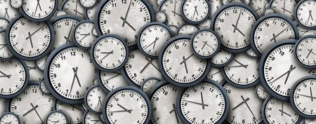 Clock background and time abstract design concept as a group of clock objects representing day and night planning or business working hours as a 3D illustration.